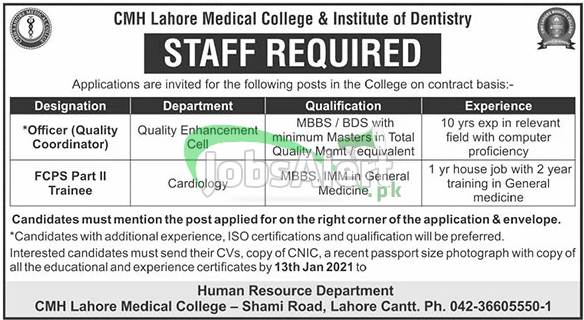 CMH Medical College & Institute of Dentistry Lahore Jobs