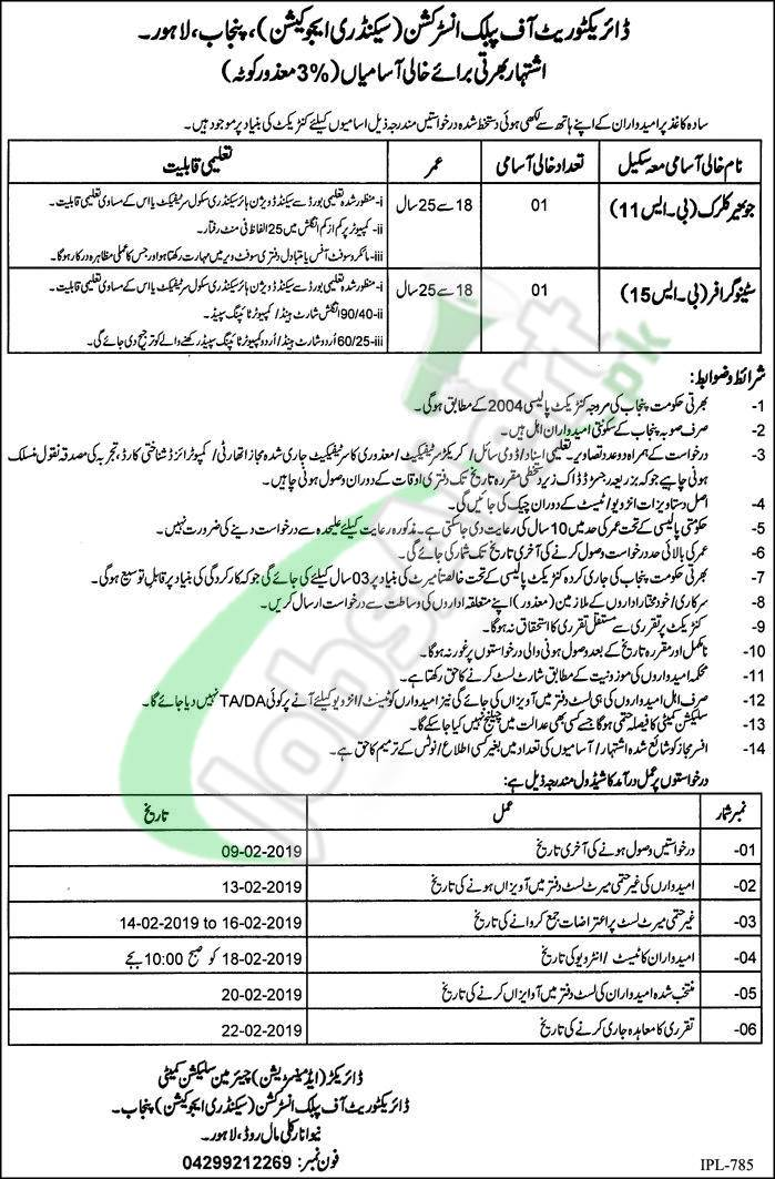 Directorate of Public Instructions (Secondary Education) Lahore Jobs 2019
