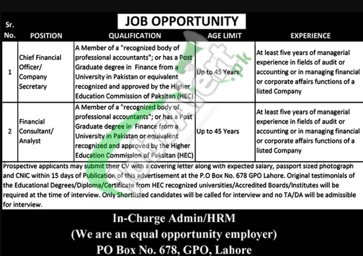 PO Box 678 Lahore Jobs