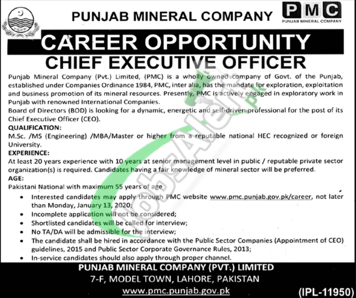 Punjab Mineral Company Career Opportunity Chief Executive Officer
