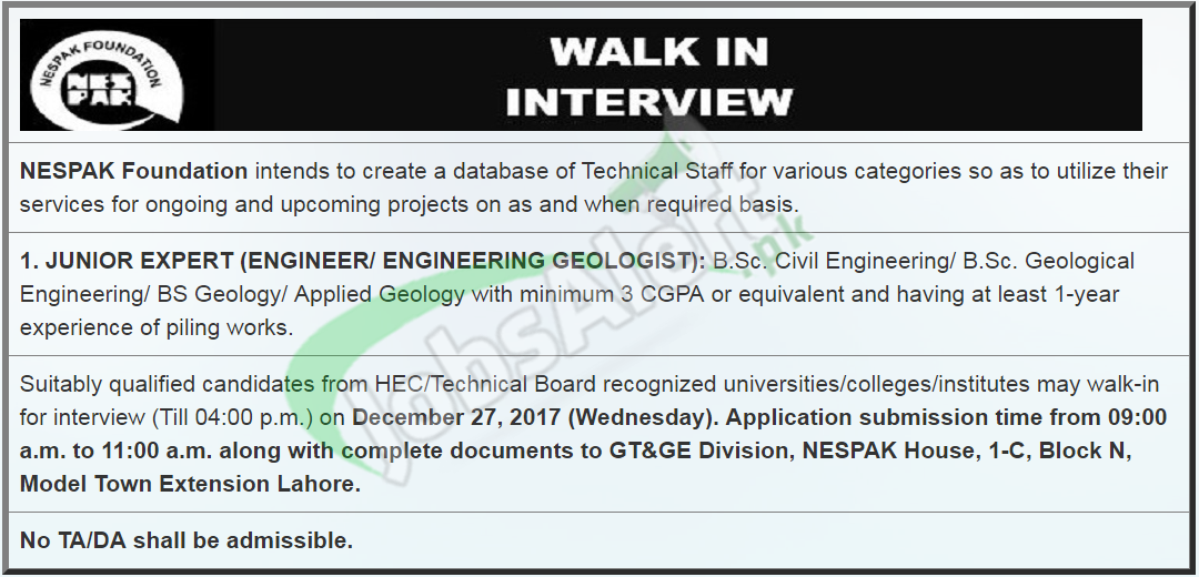 NESPAK Foundation Jobs