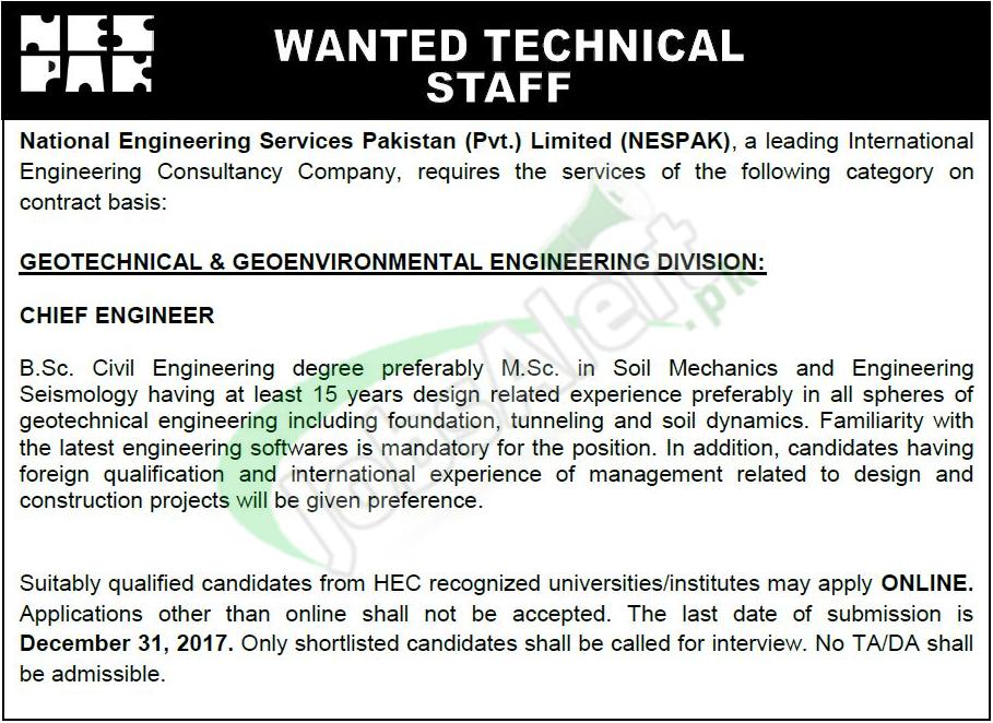 nespak national engineering services pakistan jobs  apply  jobs  pakistan