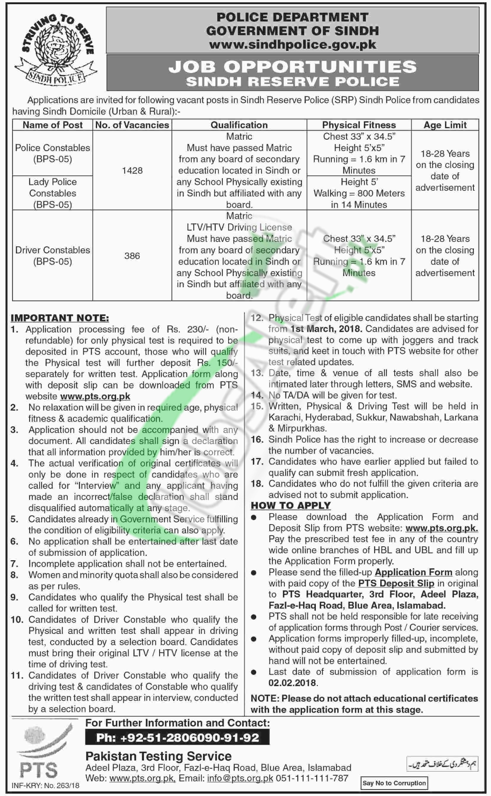 Sindh Police Jobs 2018 Application Form Download Online Pts