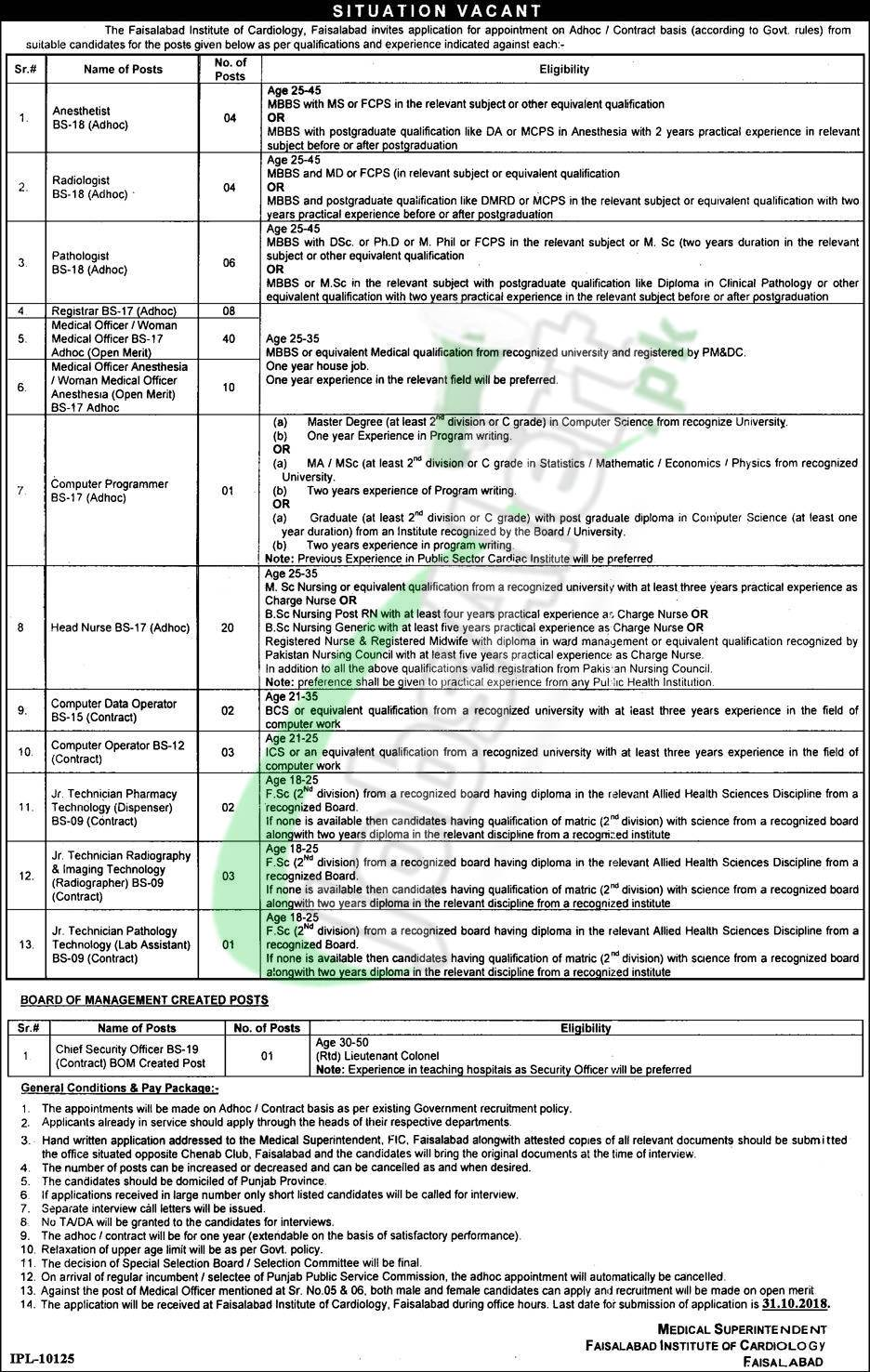FIC Faisalabad Jobs