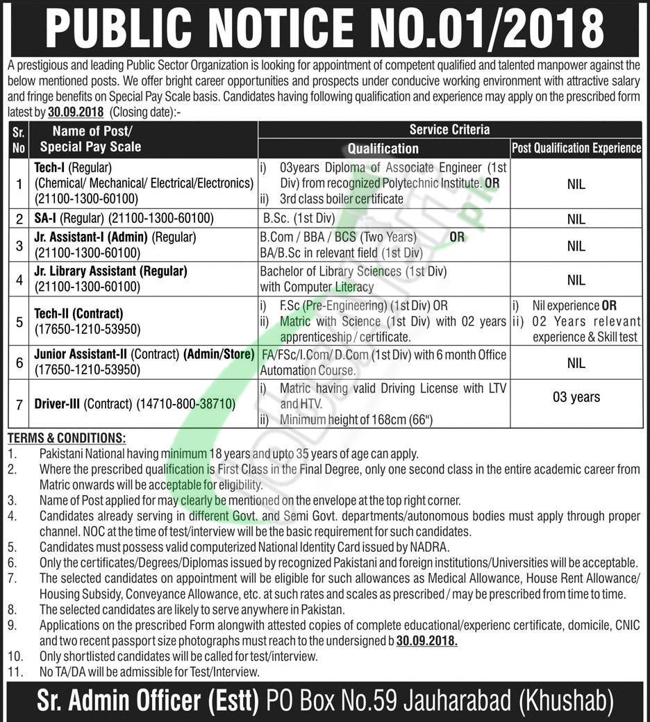 Atomic Energy PO Box 59 Jauharabad Jobs 2018 Application