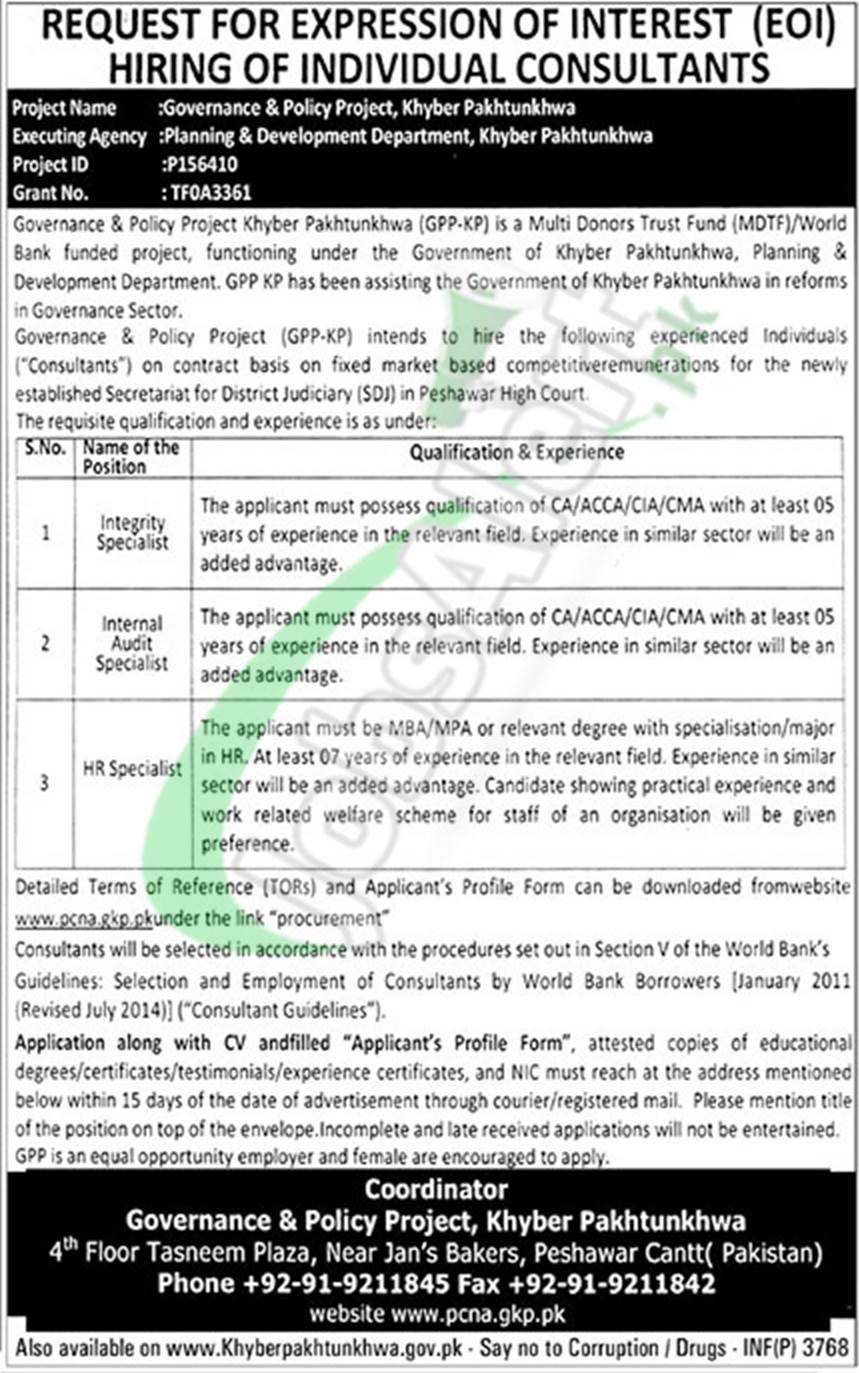 Planning and Development Department KPK Jobs 2018