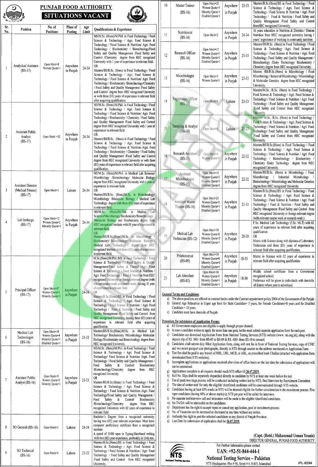 PFA Jobs 2019 Punjab Food Authority Current Employment Opportunities