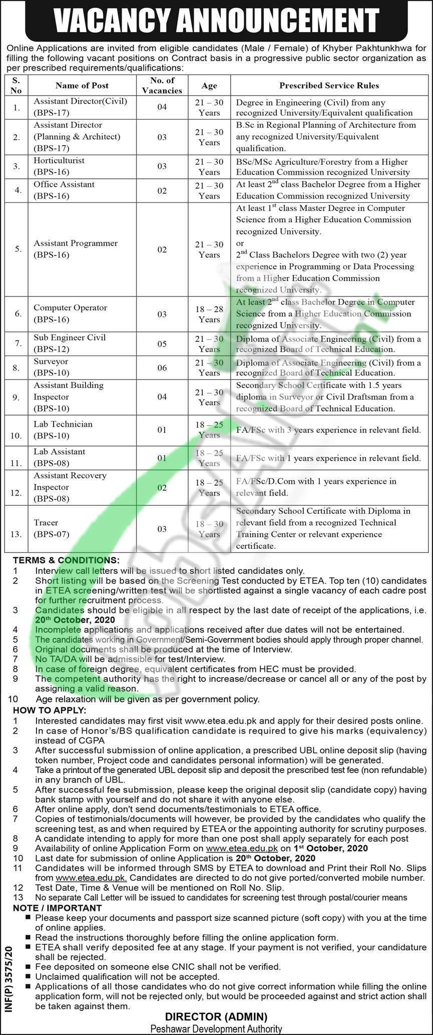 PDA Peshawar Jobs