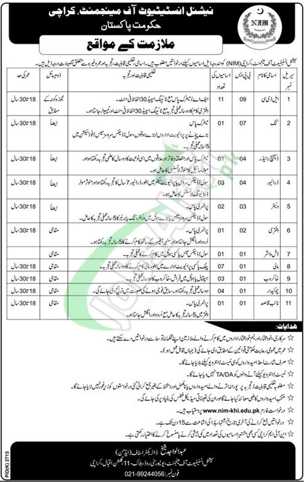 Government Jobs in Karachi 2018