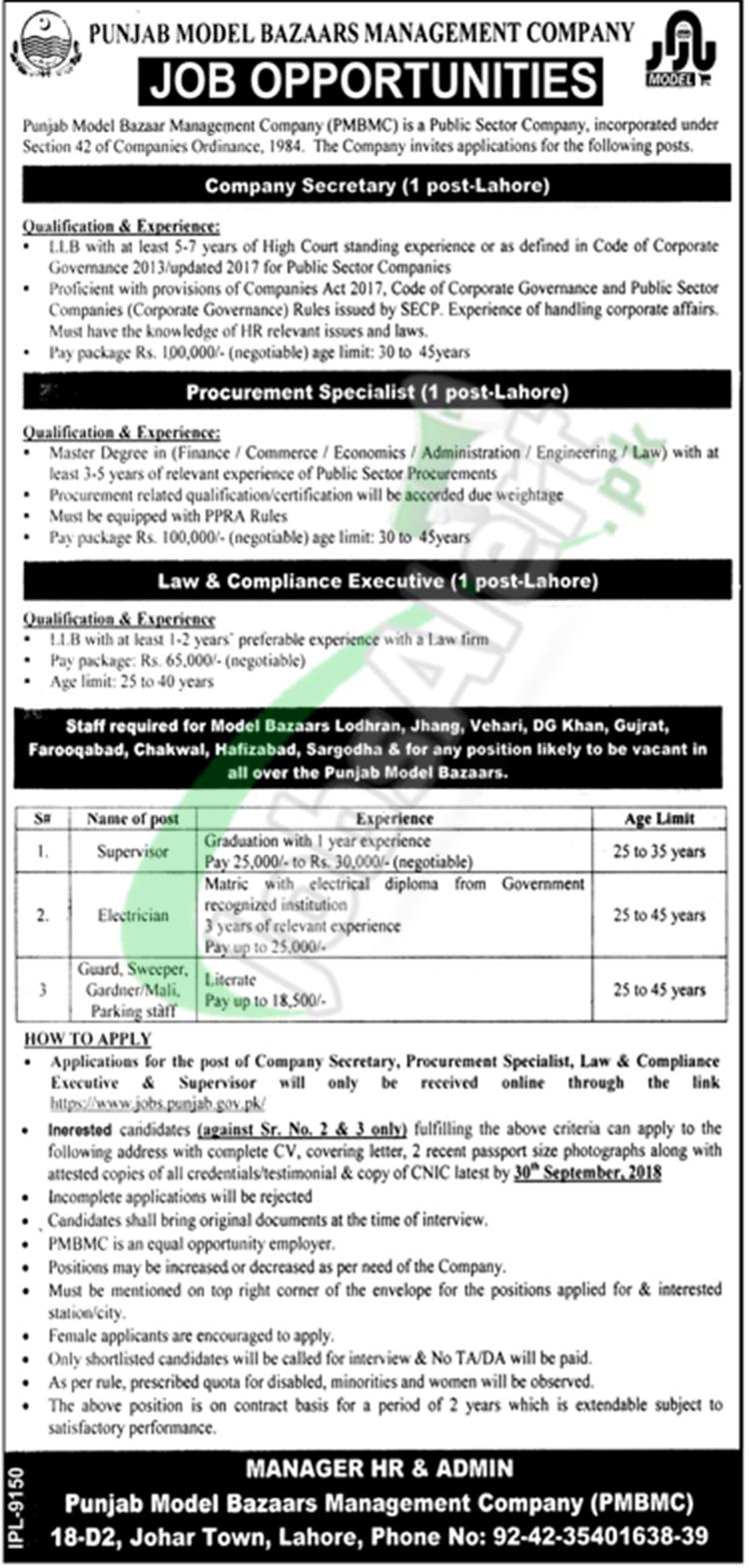 Punjab Model Bazaars Management Company Jobs