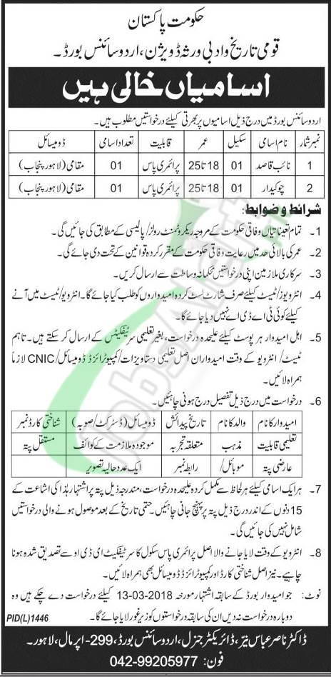 Urdu Science Board Jobs
