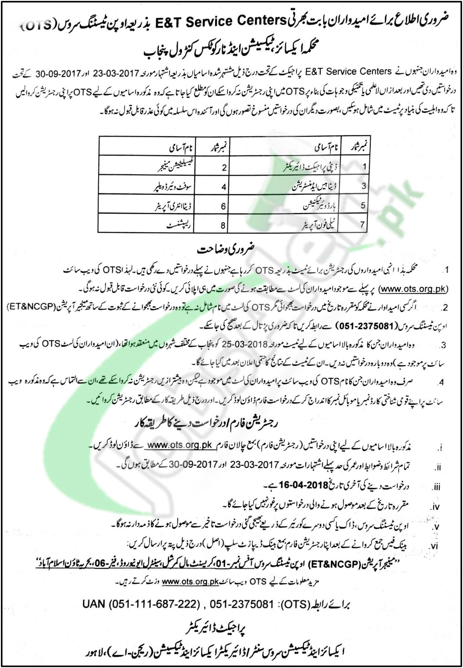 Excise and Taxation Punjab Jobs