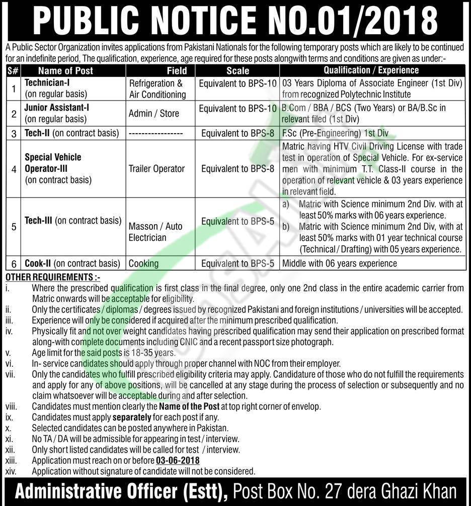 PO Box 27 DG Khan Jobs Application Form Download 2018 Online | Jobs ...