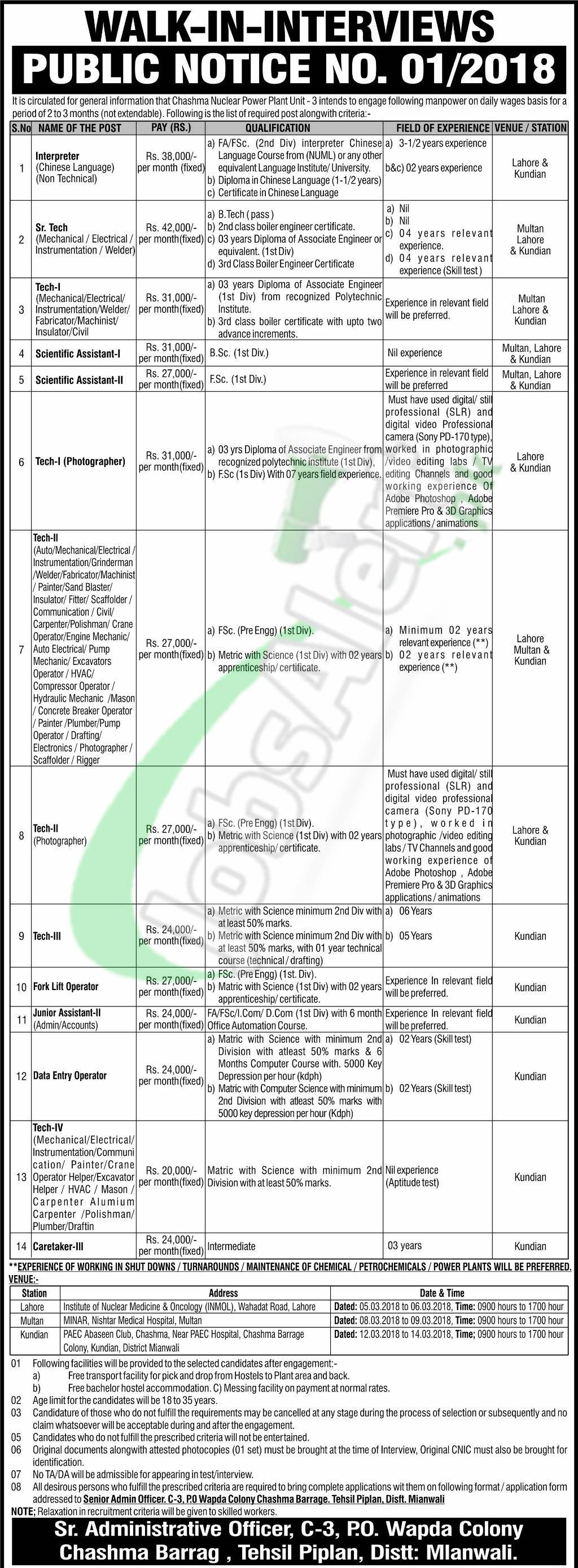 PAEC Chashma Jobs 2018 Application Form Download Online | Jobs in ...