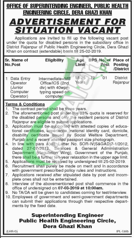 Public Health Engineering Department DG Khan Jobs