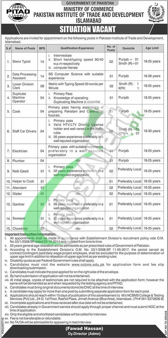 Pakistan Institute of Trade and Development Jobs 2019