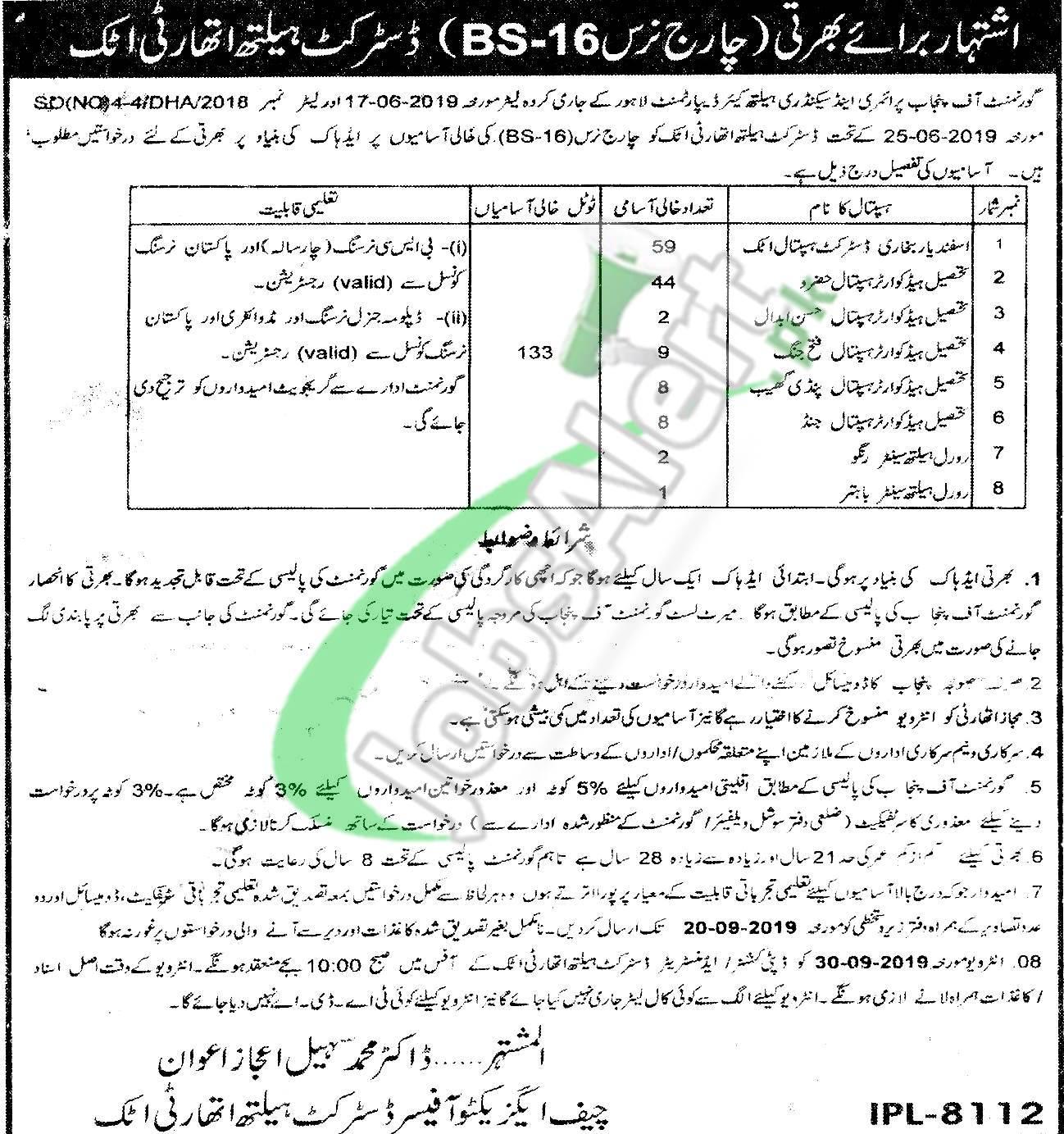 District Health Authority Attock Jobs