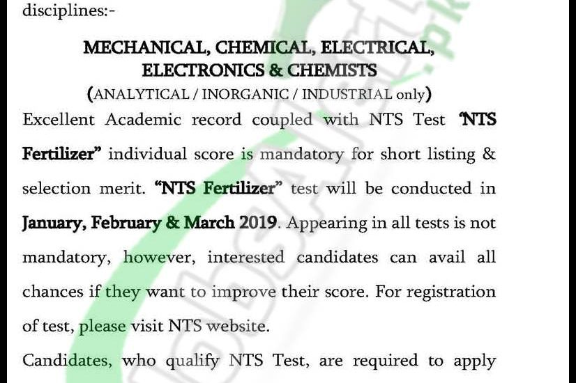 FFC Management Trainee Jobs 2019 NTS Test Schedule & Sample Paper