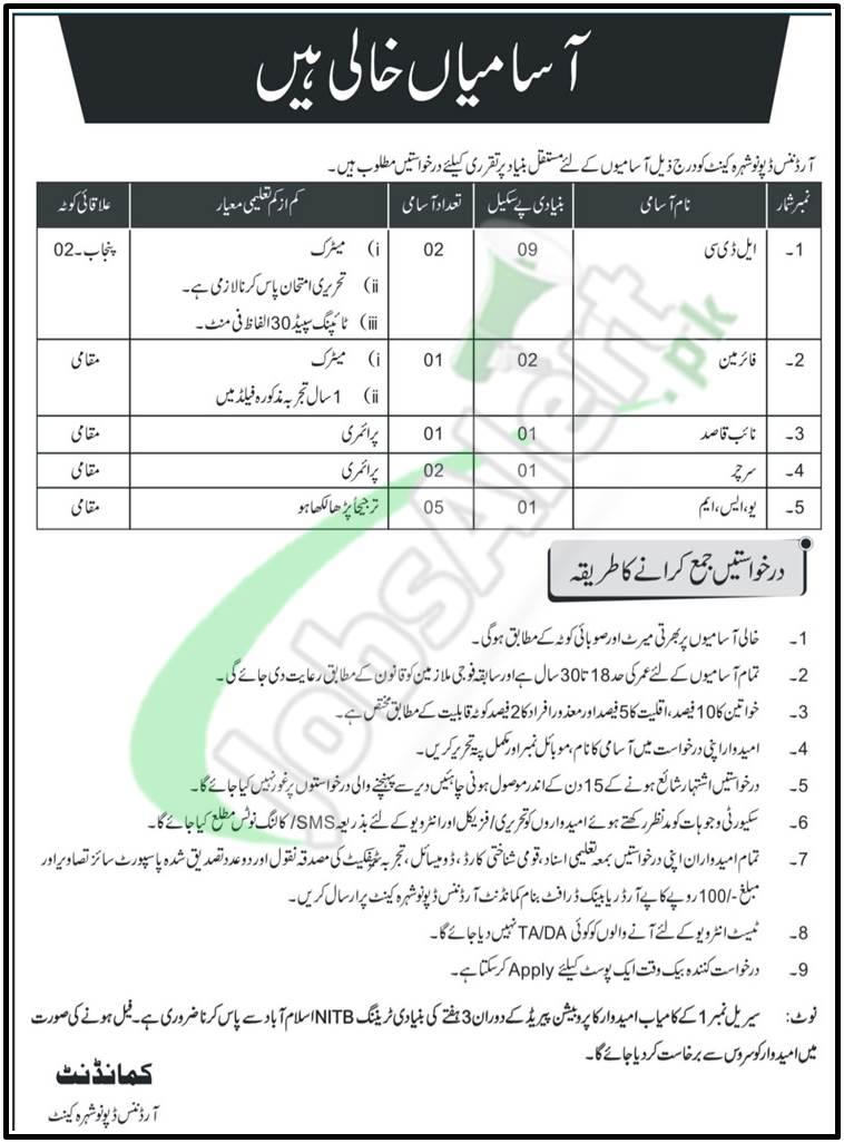 Ordnance Depot Nowshera Jobs Application Form