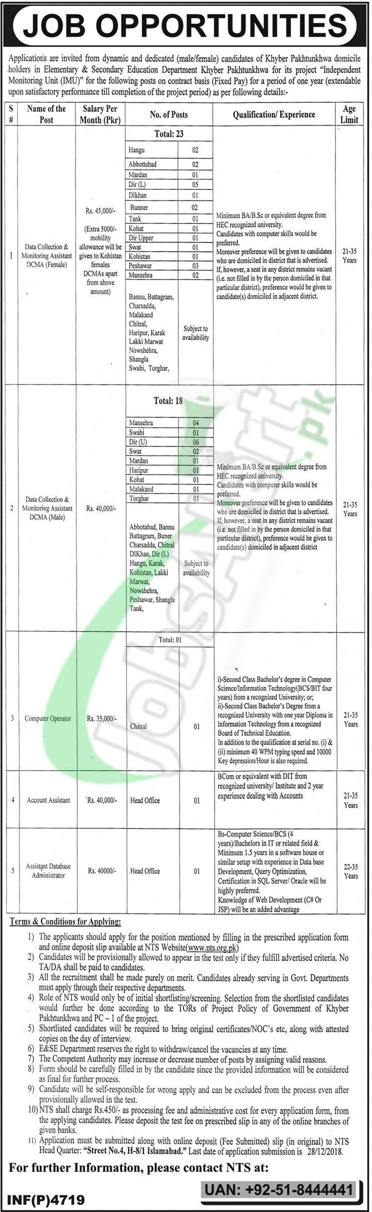 Elementary and Secondary Education KPK Jobs
