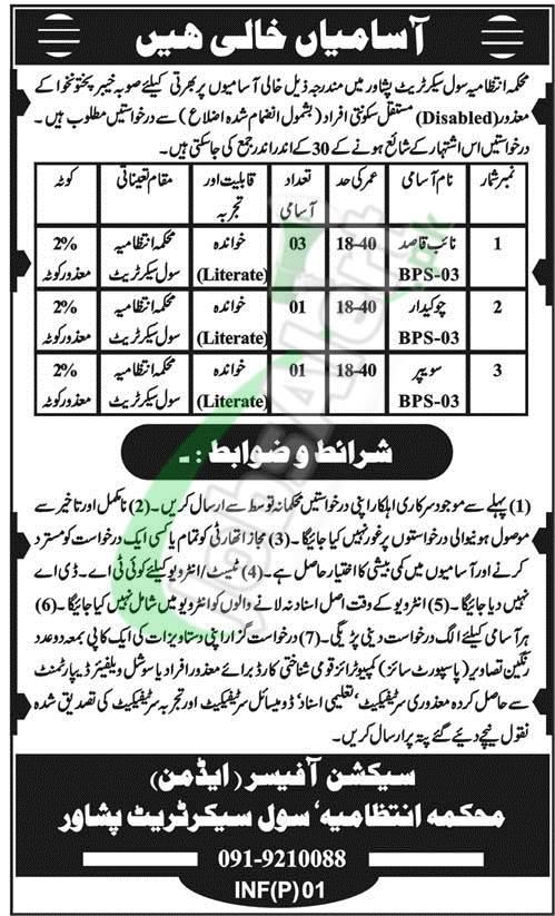 Civil Secretariat Peshawar Jobs