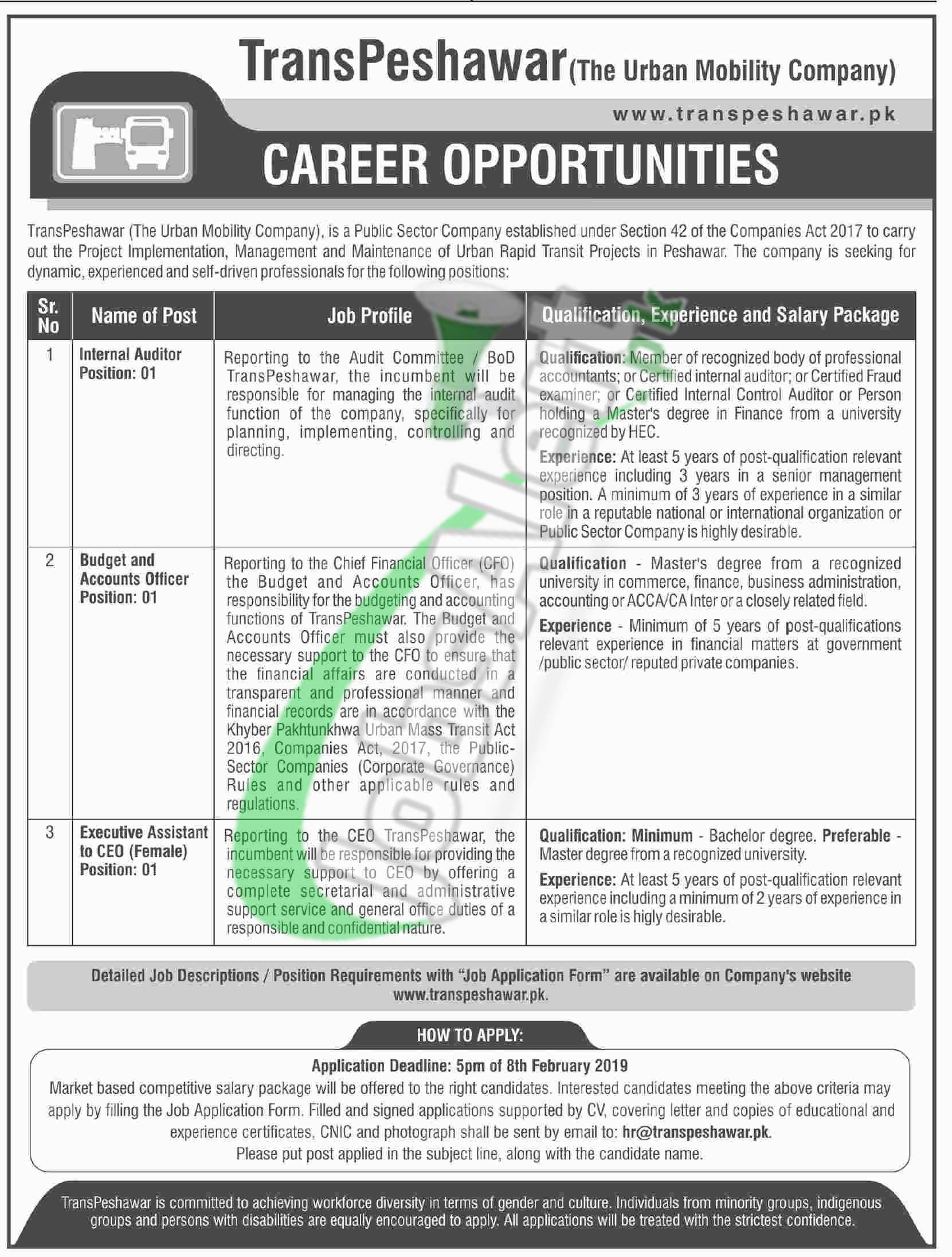 TransPeshawar Jobs 2019