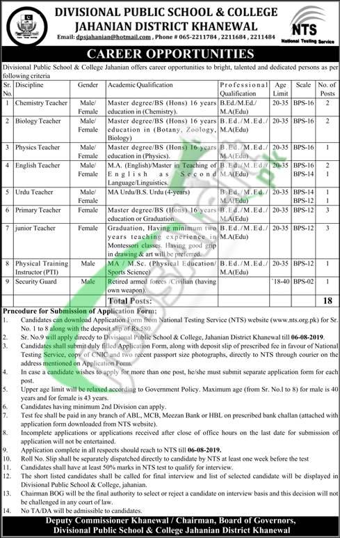 DPS Khanewal Jobs