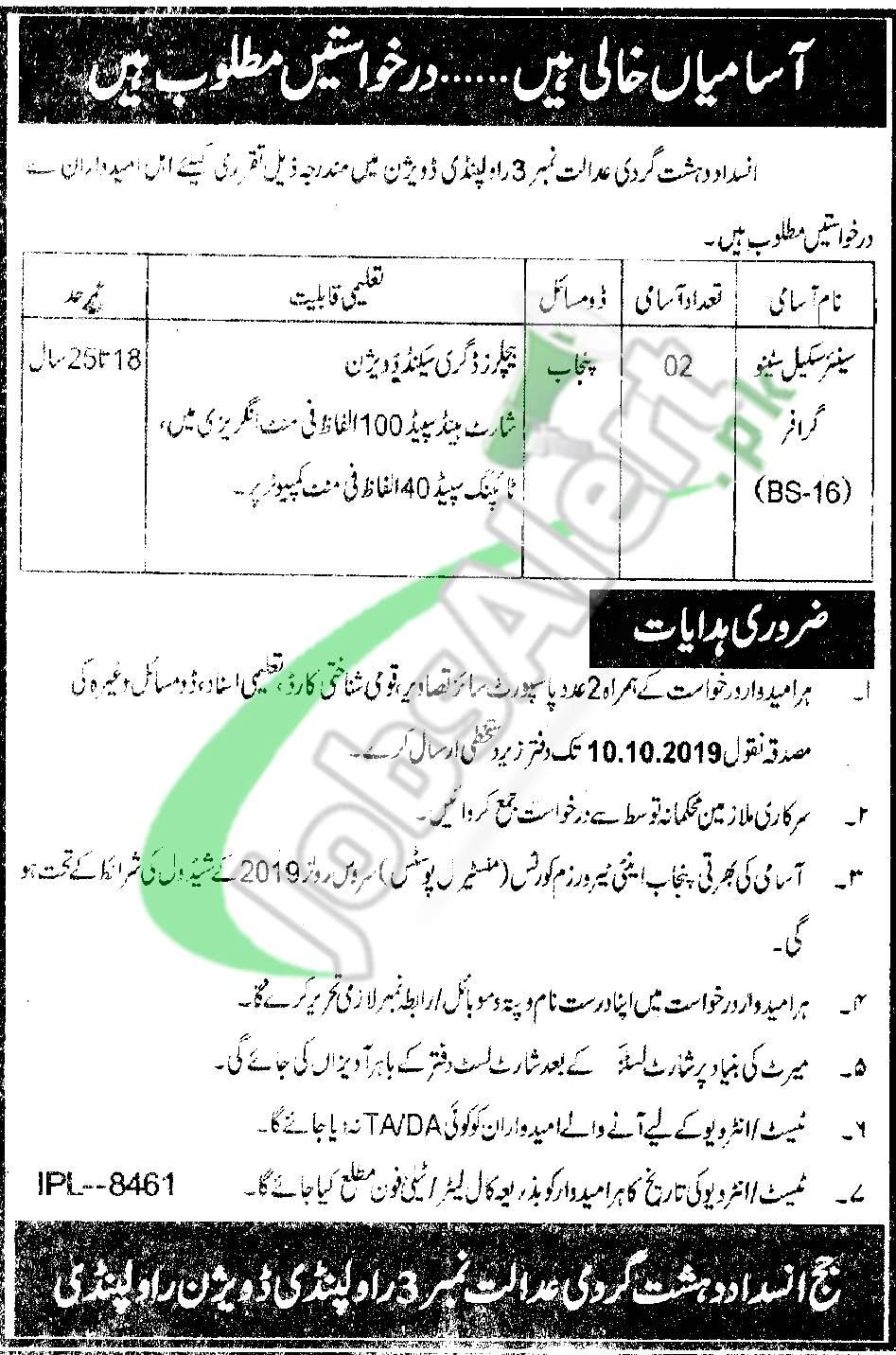 Anti-Terrorism Court Rawalpindi Jobs