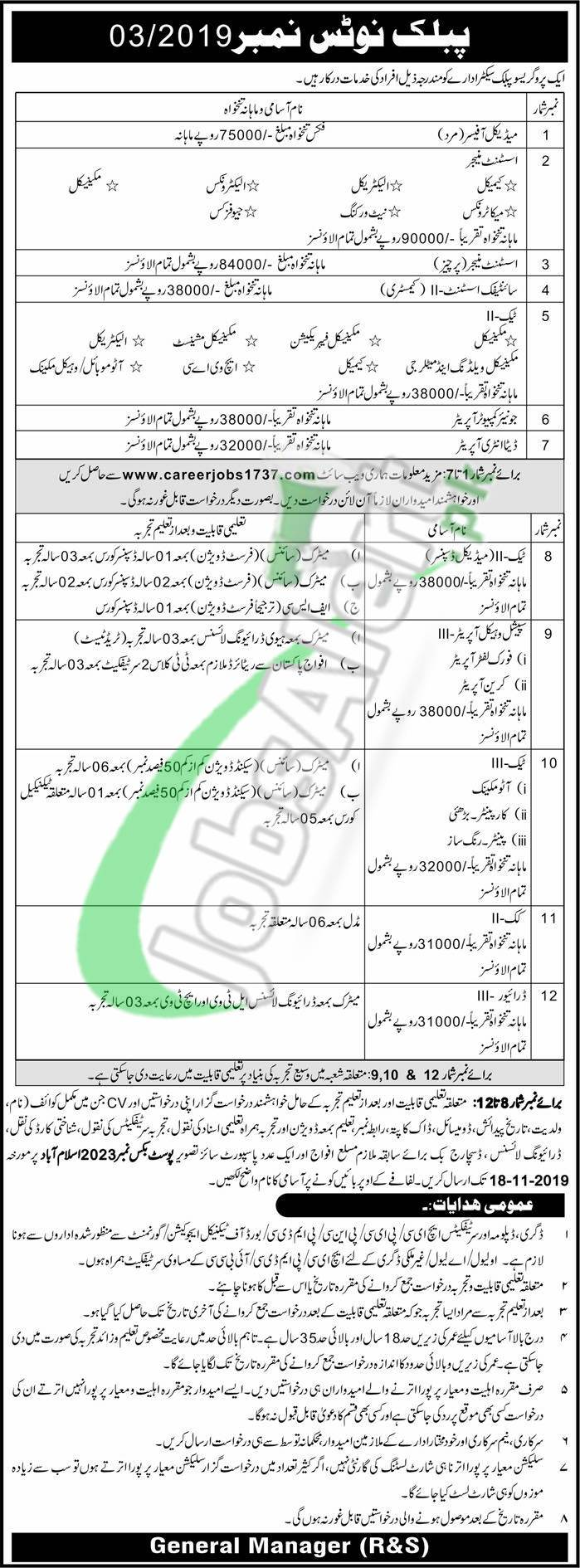 PO Box 2023 Islamabad Jobs