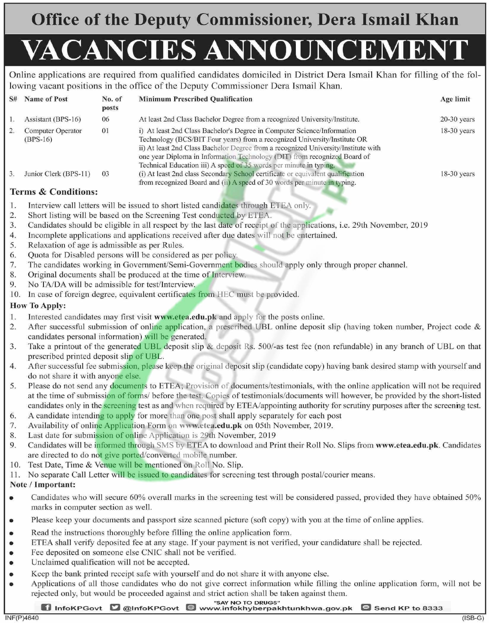 DCO DI Khan Jobs