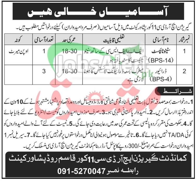 Garrison Human Resource Development Center Peshawar Jobs