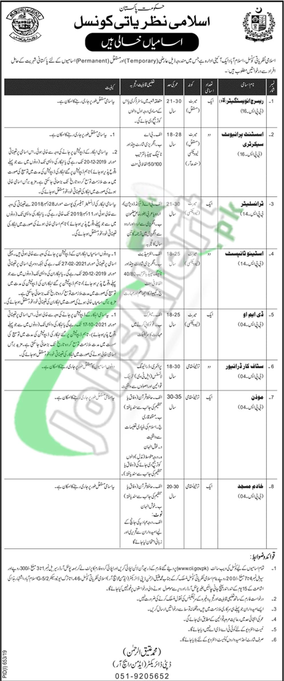 Council of Islamic Ideology Pakistan Jobs