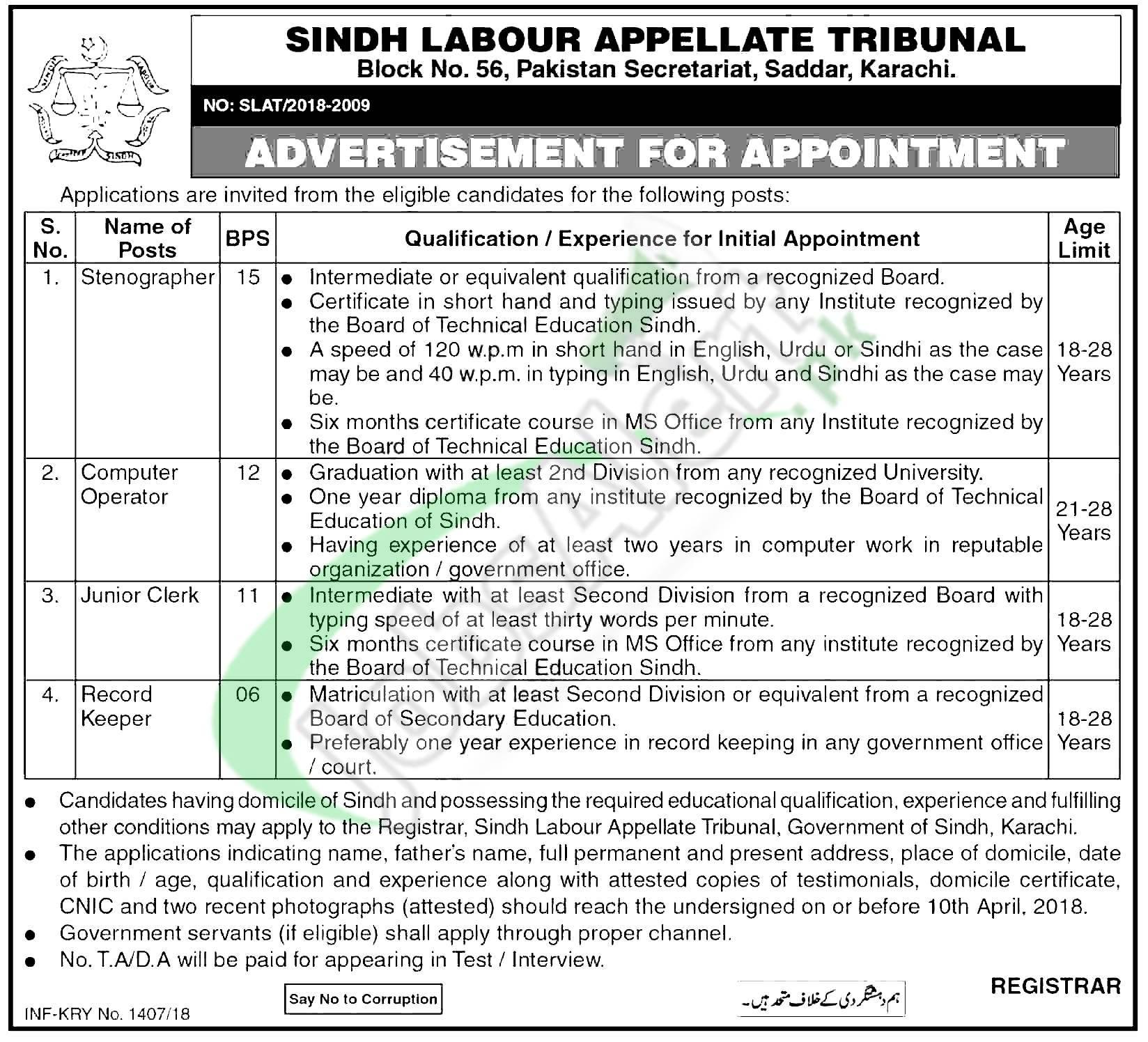 Government Job sin Karachi 2018