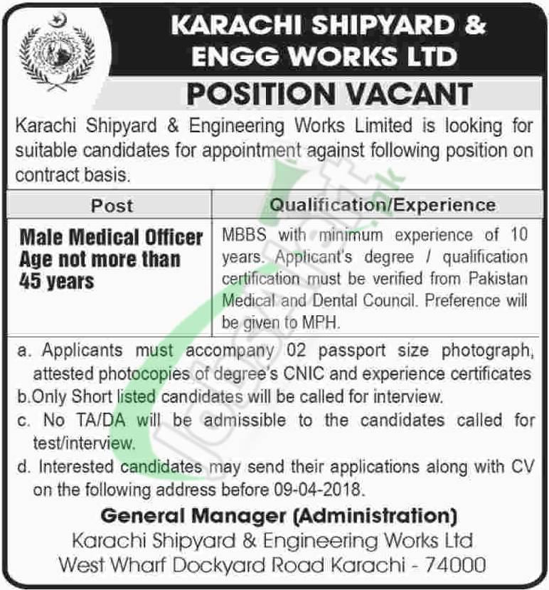 Karachi Shipyard Jobs 2018