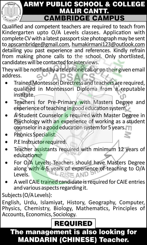 APS Malir Cantt Karachi Jobs