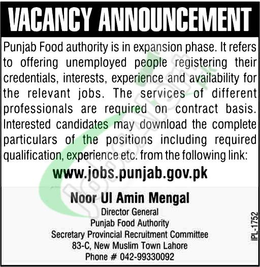 Punjab Food Authority Jobs 2018