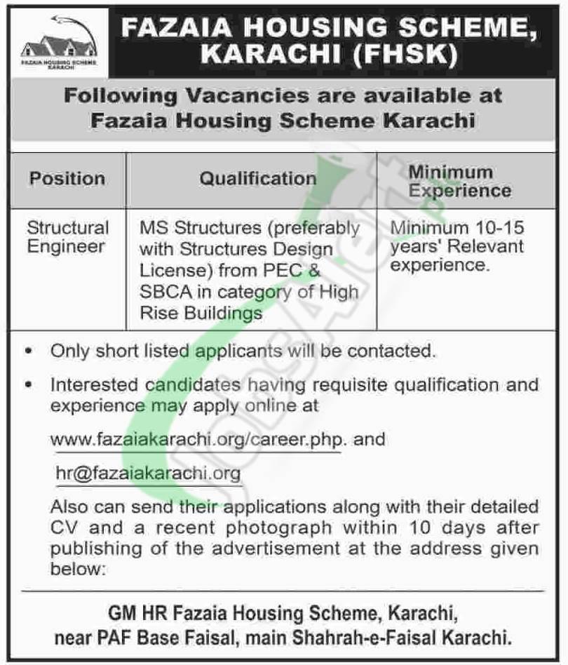 Fazaia Housing Scheme Karachi Jobs 2018