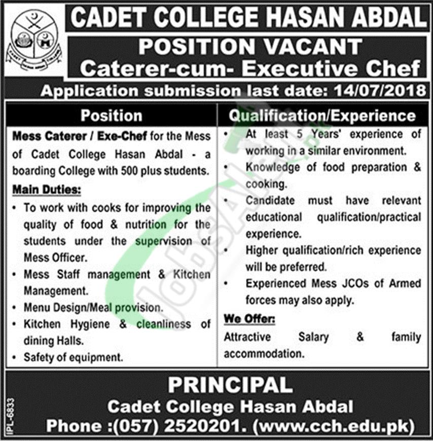 Cadet College Hasan Abdal Jobs