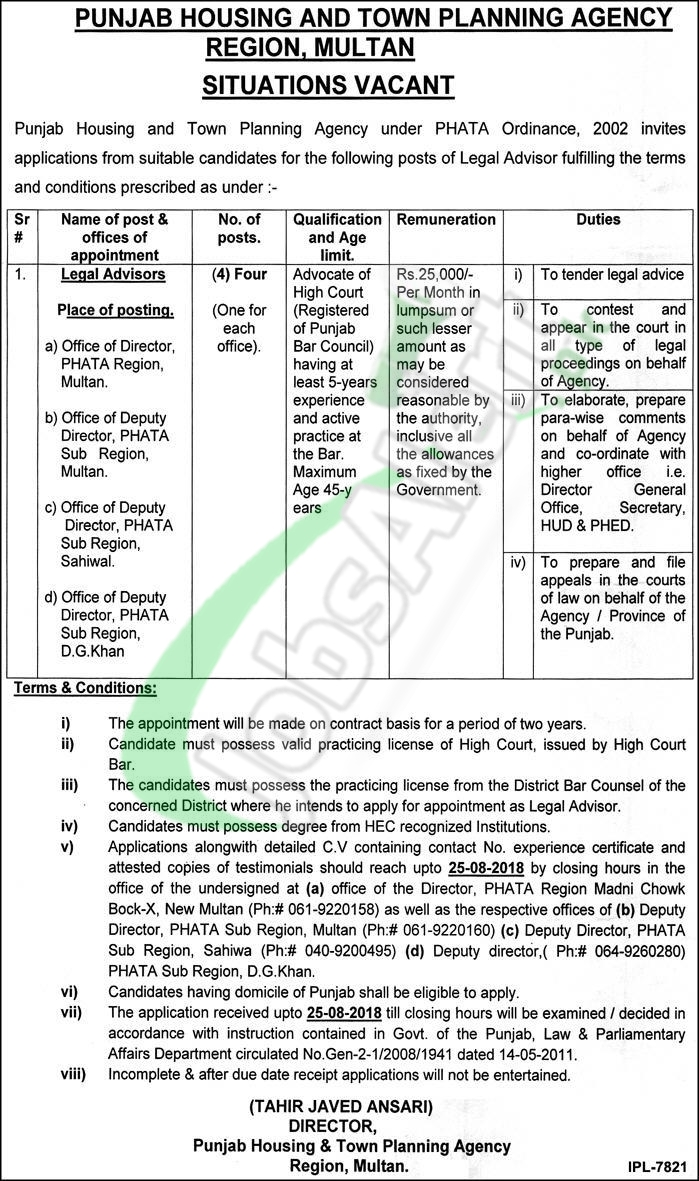 Punjab Housing and Town Planning Agency Jobs 2018