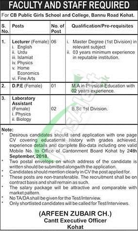 Cantonment Board Public Schools & Colleges Jobs