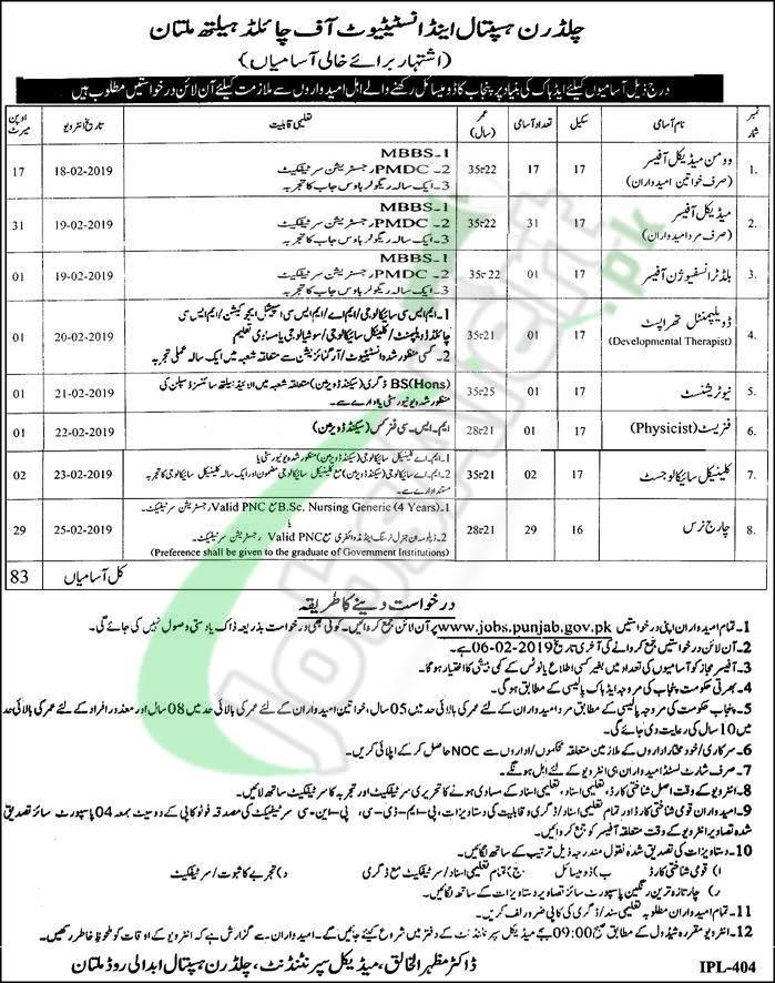 Children Hospital & Institute of Child Health Multan Jobs 2019