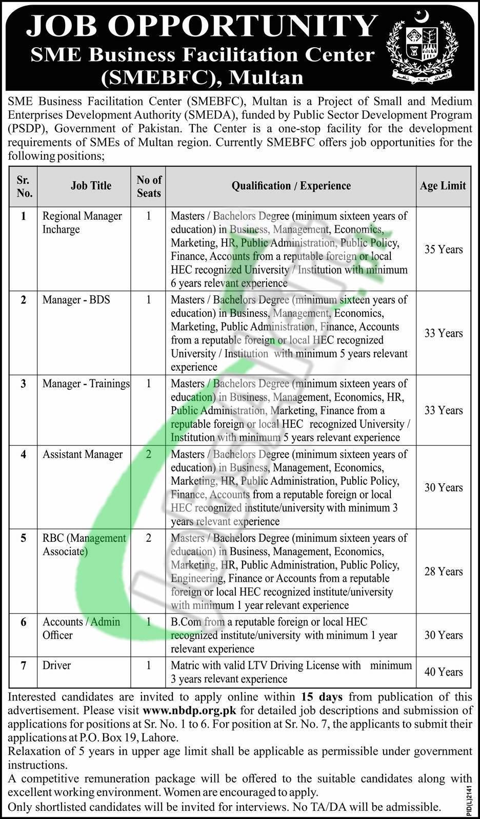 Job Opportunity SME Business Facilitation Center (SMEBFC), Multan