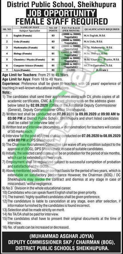 District Public School Sheikhupura Jobs