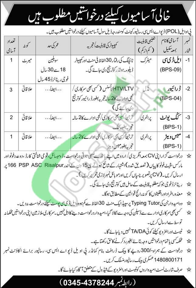Pak Army Matric Jobs