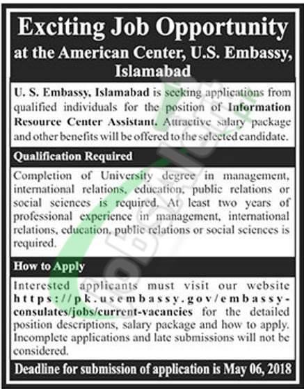 US Embassy Jobs in Islamabad