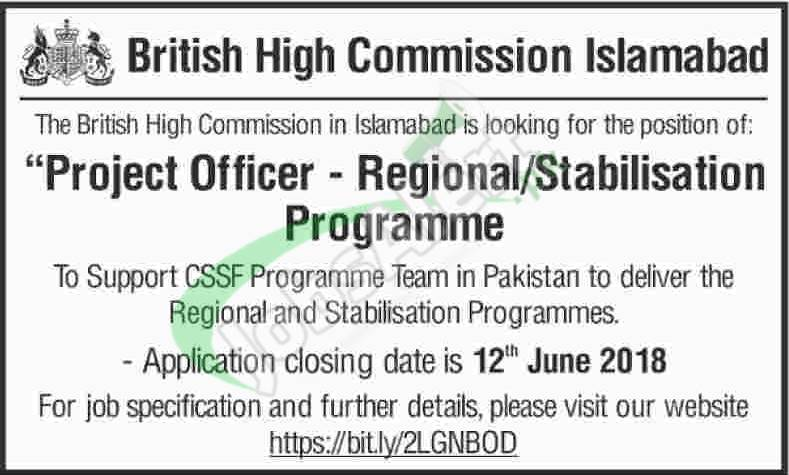 British High Commission Islamabad Jobs 2018