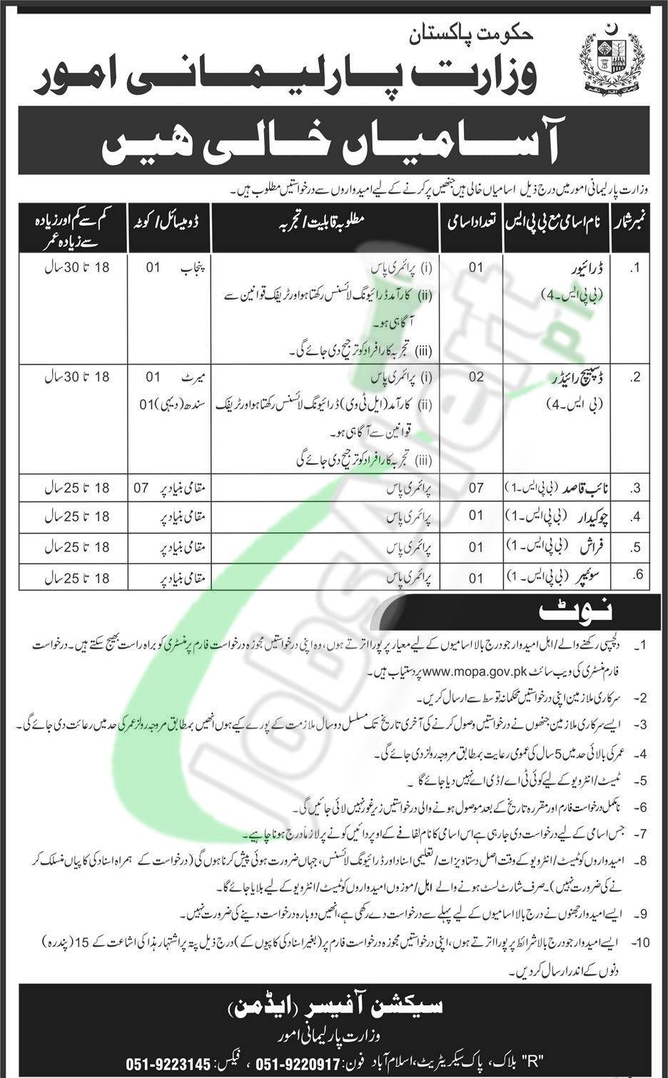 Ministry of Parliamentary Affairs Jobs 2018