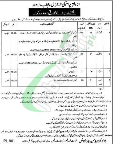 Prosecution General Department Punjab Jobs 2019