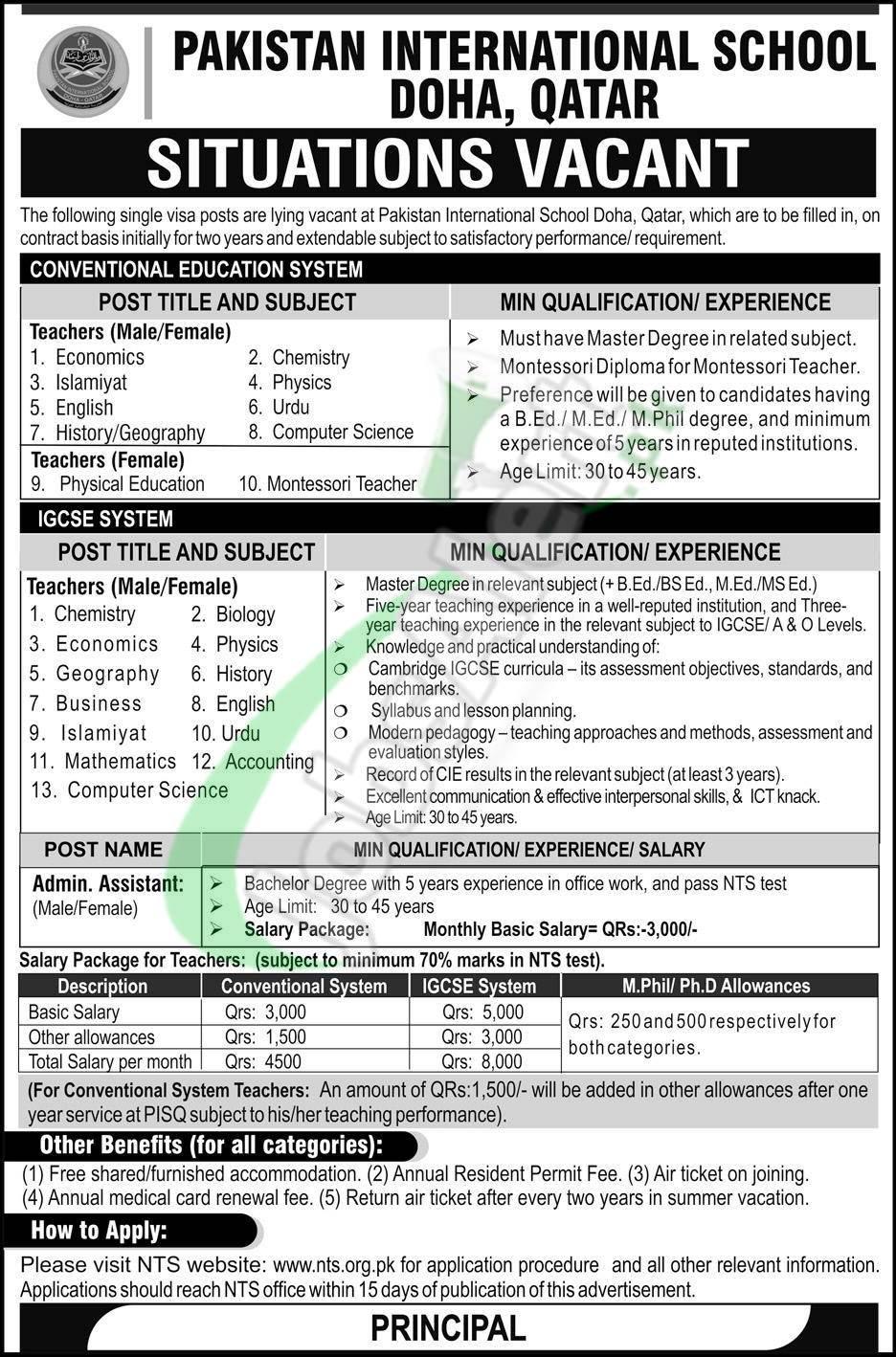 Pakistan International School Doha Qatar Jobs 2019