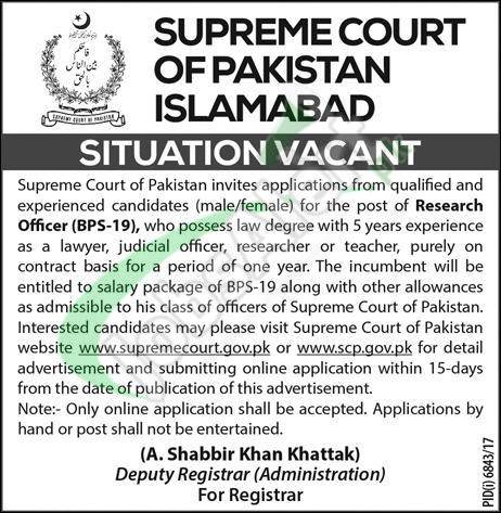 Supreme Court of Pakistan Jobs